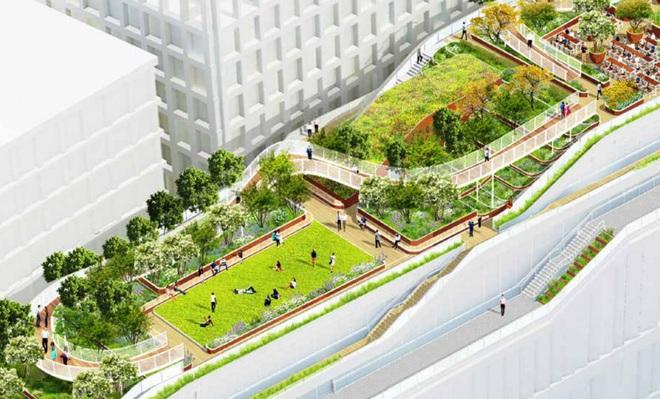 Một sân thượng dài 300 mét có vườn hoa tự nhiên và khu vực này được xem như một cánh đồng. Bên cạnh đó, nhiều địa điểm để nhân viên có thể thư giãn ngay trên sân thượng.