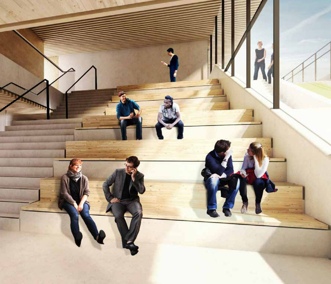 Đây là một cầu thang chéo được thiết kế để mọi người có thể giao tiếp với nhau nhiều hơn và cầu thang này xuyên suốt 11 tầng của tòa nhà.