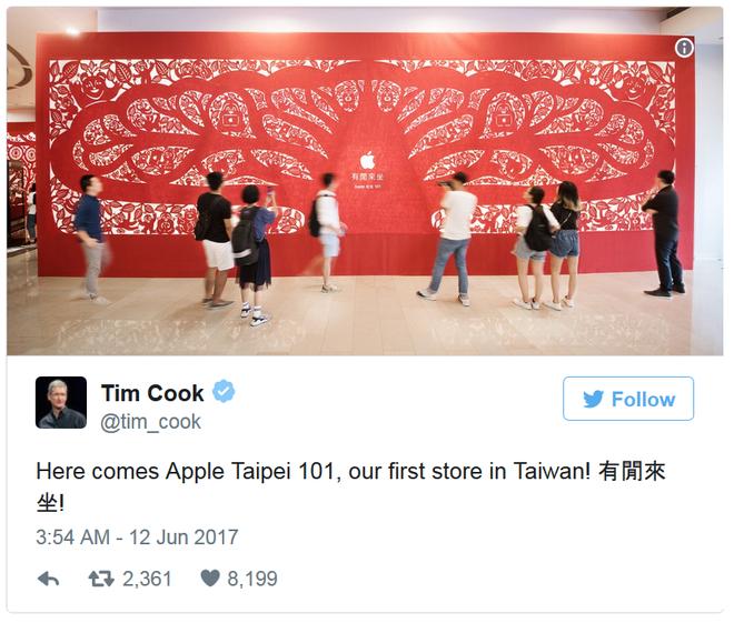 Tweet của ông Tim Cook về sự kiện này. Hãy đến Apple Taipei 101, cửa hàng đầu tiên của chúng tôi ở Đài Loan