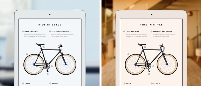 True Tone Display là công nghệ lần đầu có mặt trên iPad Pro, giúp điều chỉnh màu sắc màn hình dựa theo môi trường