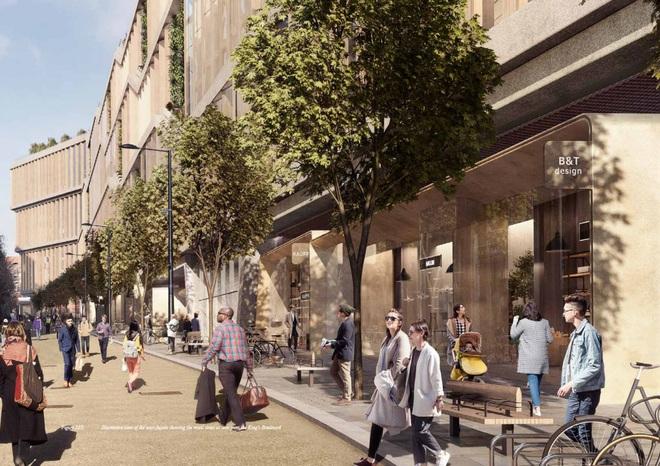 Dọc theo con phố, người dân London có thể vào các cửa hàng và quán cà phê được xây dựng bên trong tòa nhà Google.
