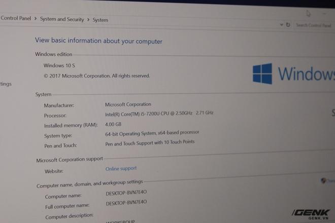 Surface Laptop mặc định cài sẵn Windows 10 S