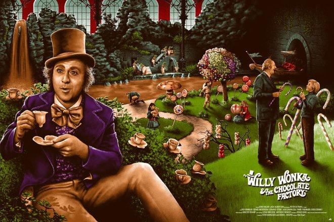 Poster phim Willy Wonka vẽ bởi Adam Rabalais.