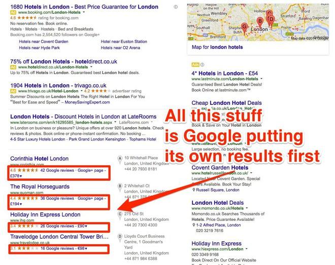 Những kết quả tìm kiếm có liên quan đến sản phẩm Google được đưa lên đầu.