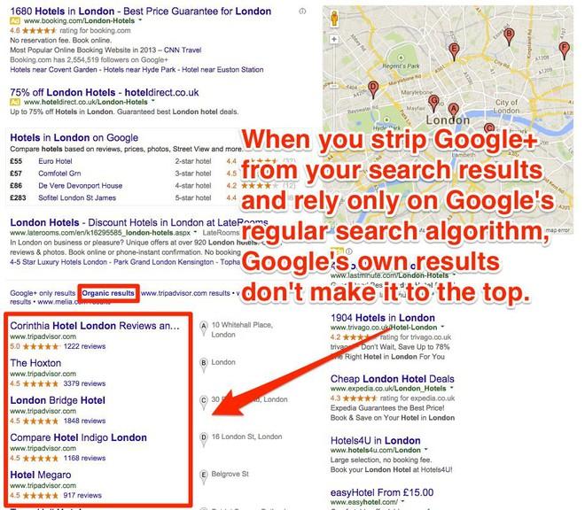 Trong khi đó, nếu chỉ sử dụng thuật toán thông thường của Google và loại bỏ Google+, các kết quả hợp lý hơn đã được hiển thị.