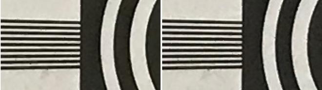 Định dạng HEIF (bên trái), định dạng JPEG (bên phải) ở độ zoom 300%.