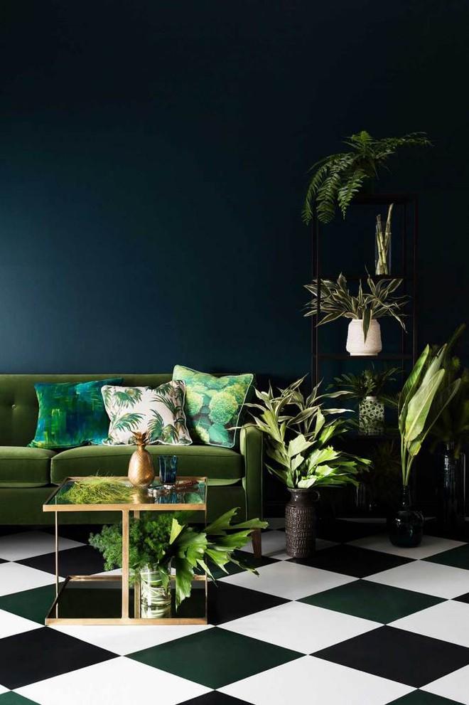 Màu xanh rêu được phủ lên diện tường và đồ nội thất với những sắc độ khác nhau, cùng với cây xanh và vật trang trí khiến căn phòng này có một sự thu hút kì lạ.