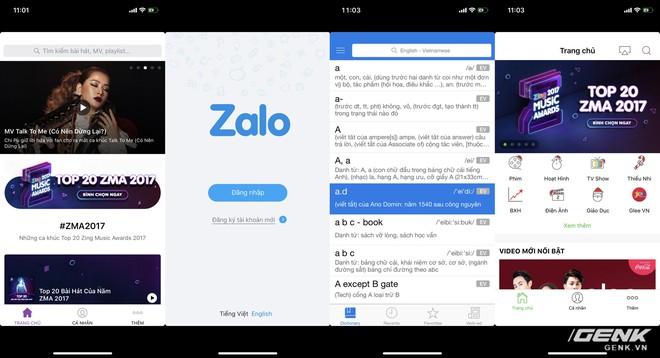 Zing/Vinagame là một nhà nhà phát triển lớn tại VN, nhưng lại thiếu nhanh nhạy trong việc cập nhật ứng dụng của mình để hỗ trợ iPhone X (từ trái sang phải: Zing MP3, Zalo, Laban Dictionary, Zing TV)