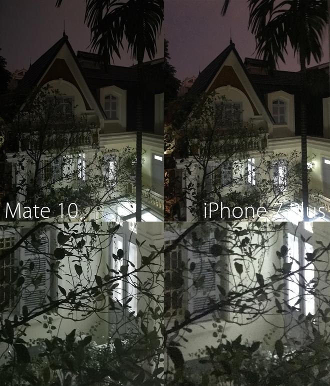 So sánh nhanh chất lượng ảnh chụp tối của Mate 10 và một chiếc máy mà chúng tôi sở hữu là iPhone 7 Plus, có thể thấy Mate 10 vượt trội về độ chi tiết và khả năng khử nhiễu 