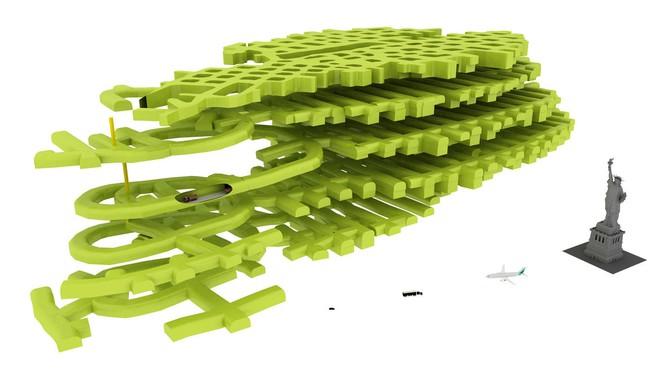 Quy mô của trung tâm dữ liệu Lefdal Mine so với tượng Nữ thần Tự do.