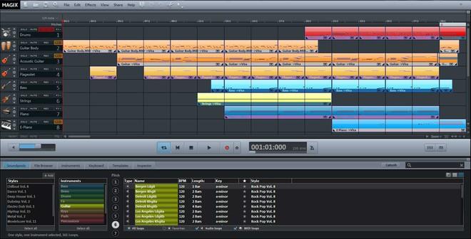Minh họa giao diện của một công cụ chỉnh nhạc kỹ thuật số.