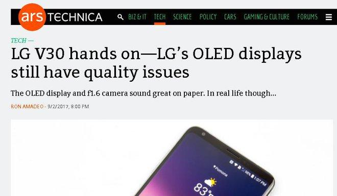 Arstechnica đánh giá màn hình OLED của LG V30 có nhiều vấn đề.