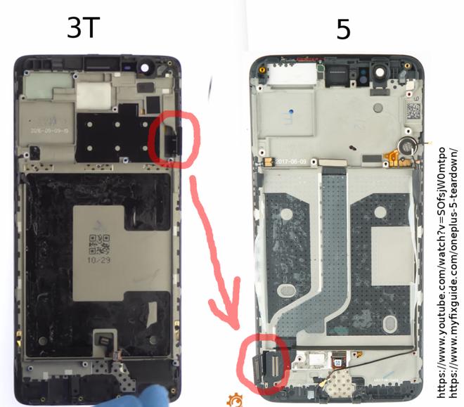 Màn hình của OnePlus 5 được lắp theo chiều ngược từ trên xuống dưới so với OnePlus 3T