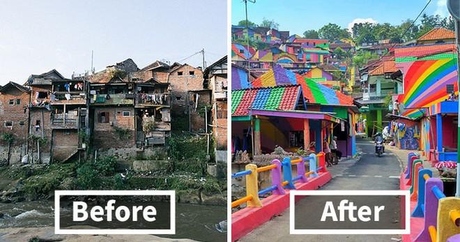 Diện mạo ngôi làng Kampung Pelangi đã hoàn toàn thay đổi sau khi được sơn sửa
