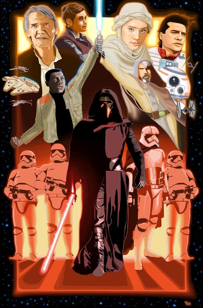"""Bức tranh được họa sĩ Patrick Hines ở Boston vẽ với chủ đề poster phim """"Star Wars: The Force Awakens"""". Các chi tiết tinh xảo và đẹp đến ngỡ ngàng..."""