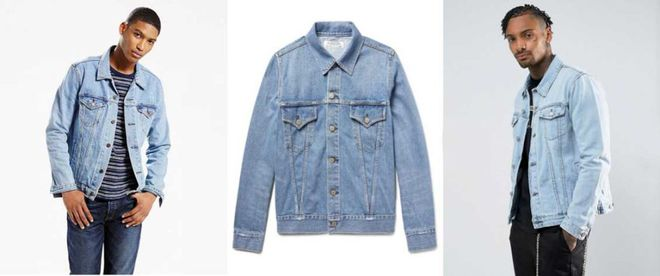 Levi's trucker jacket, Remi Relief Slim-Fit Distressed Denim Jacket, ASOS Denim Jacket in Extreme Light Wash