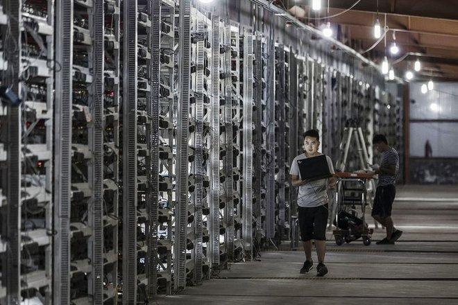 Bên trong một nhà máy đào Bitcoin của Bitmain Technologies.