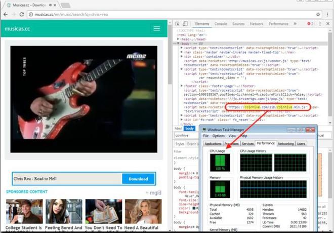 Một trang web xem video ca nhạc bị biến thành công cụ đào Bitcoin bí mật.