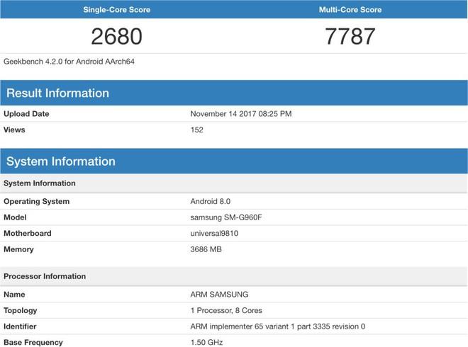 Điểm hiệu năng của thiết bị được cho là Galaxy S9 với vi xử lý Exynos 9810
