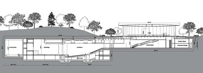 Một bản vẽ mô tả kiến trúc bề ngang của khán phòng Steve Jobs được thiết kế với 1.000 ghế ngồi