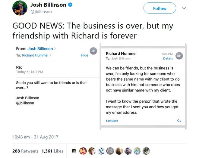 Josh Billison sau đó còn muốn... kết bạn với gã scammer xấu số
