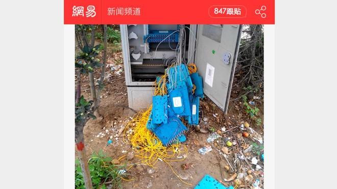 Bức hình về hộp kết nối Internet bị anh Lưu phá hủy, được trang mạng NetEase đưa tin.