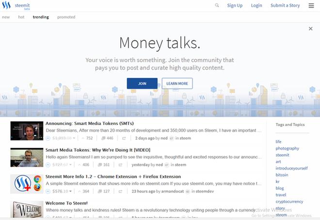 Token-based đang là một xu hướng trong thế giới startup. Trong hình là mạng xã hội hỏi đáp Steemit, một ICO thành công với đồng tiền ảo Steem.