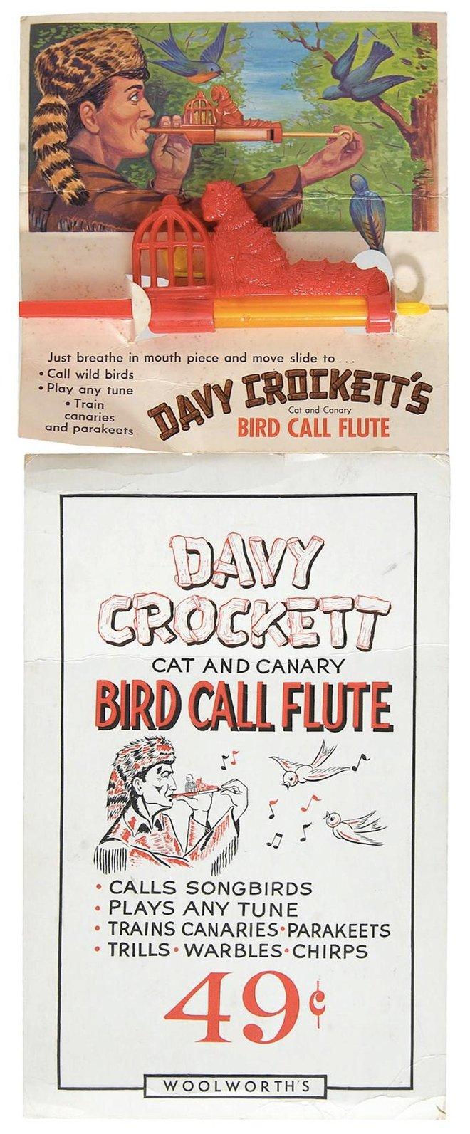Tranh quảng cáo chiếc sáo Davy Crockett Cat và Canary Bird Call.