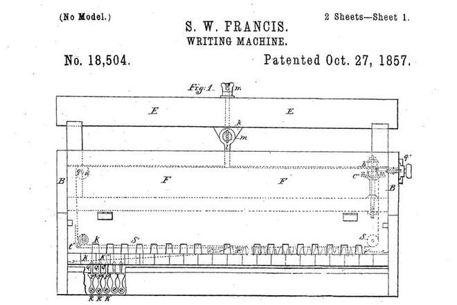 Máy đánh chữ mà ông Francis phát minh ra.