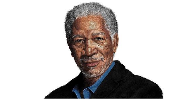 Diễn viên Morgan Freeman được vẽ giống y như người thật
