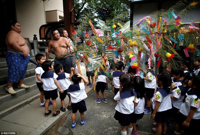 Cây điều ước với vô số tờ giấy ghi điều ước của các em học sinh mẫu giáo cho những võ sĩ sumo.