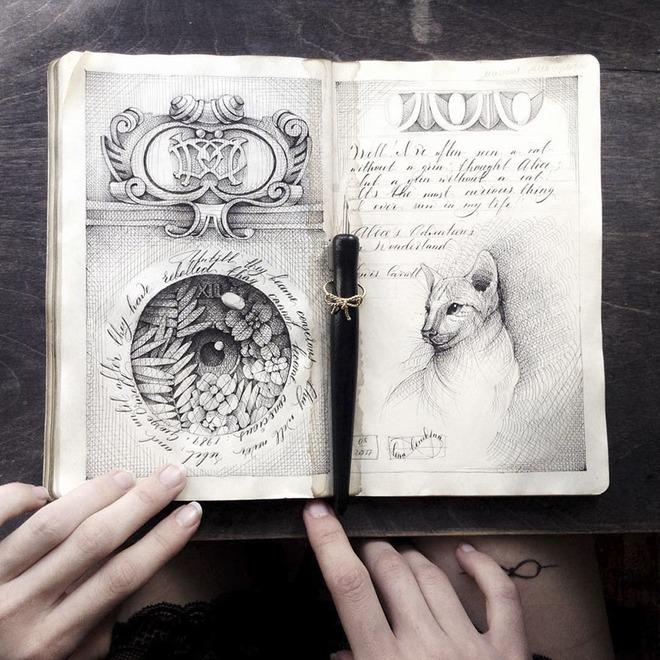 Hầu hết những trang vẽ phác họa của cô đều chỉ sử dụng giấy trắng mực đen