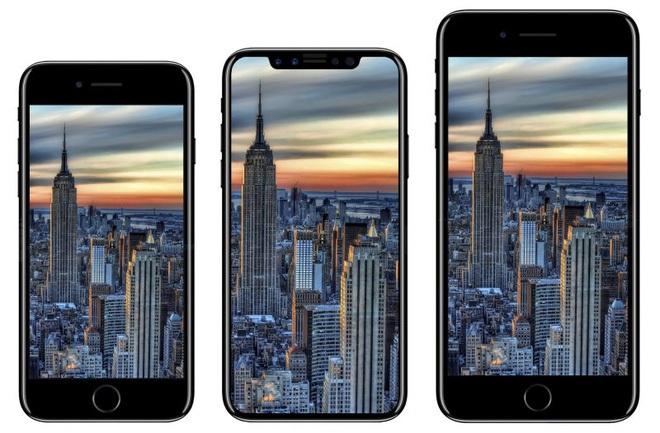 iPhone 8 (giữa) được dựng lên từ tin đồn