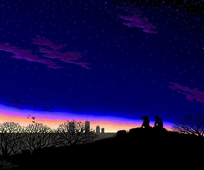 Khung cảnh ngoại ô thành phố với bầu trời đầy sao