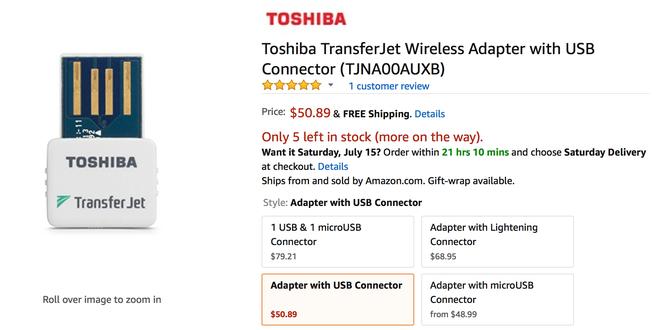 Adapter TransferJet dành cho PC với giá 50 USD
