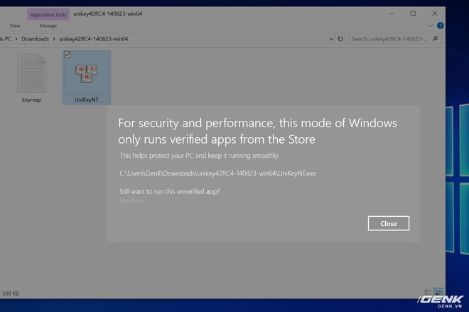 Do hạn chế của Windows 10 S, các ứng dụng như UniKey hay GoTiengViet không thể chạy được