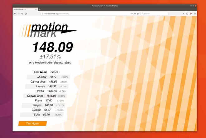 Điểm số benchmark Motion Mark cho phiên bản beta của Firefox Quantum.