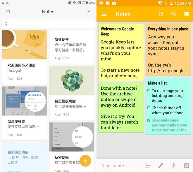 Ứng dụng ghi chú của Xiaomi và Google Keep