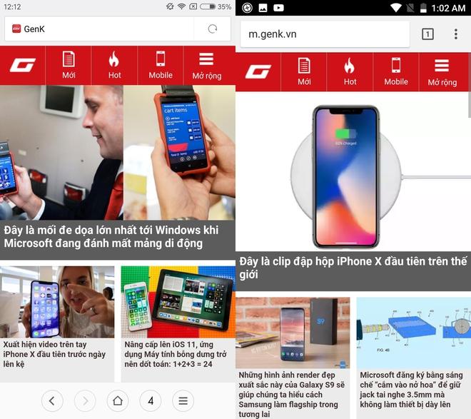 Ứng dụng trình duyệt của Xiaomi và Google Chrome