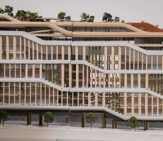 Tòa nhà được cấu thành từ 3 phần cơ bản: mái nhà, không gian làm việc và mặt đất.
