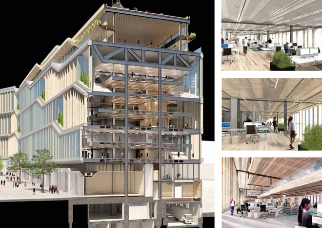 Các nhà thiết kế dự kiến sẽ có một trung tâm nơi nhân viên Google có thể gặp gỡ nhau với đầy đủ phòng họp, quán cà phê và nhiều tiện nghi khác.