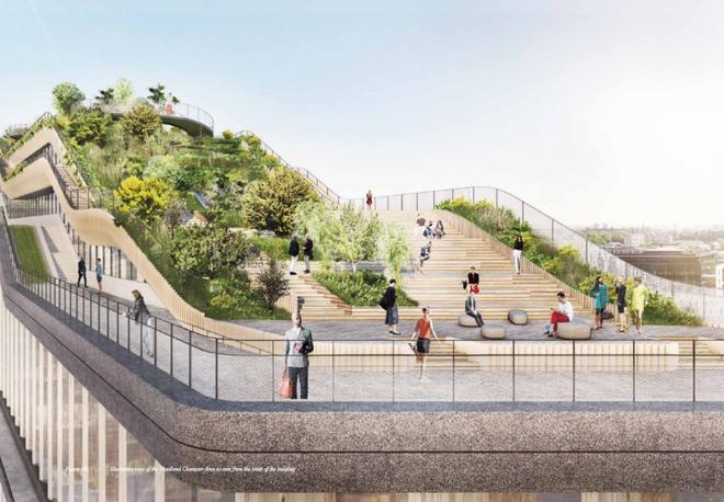 """Tầng mái được thiết kế sẵn các đường đua để cho các nhân viên có thể đi bộ hoặc chạy với không gian yên tĩnh bao quanh bởi cây cỏ và một số loại cây gỗ nhỏ. Nhân viên Google sẽ có cơ hội để tập thể dục, gặp gỡ hoặc hẹn hò, hay đơn giản là trốn khỏi văn phòng để lên đây thư giãn. Bên cạnh đó, ở góc Tây Bắc của tầng mái sẽ có một """"thiền đường"""" bao quát cái nhìn 270 độ về thủ đô London."""