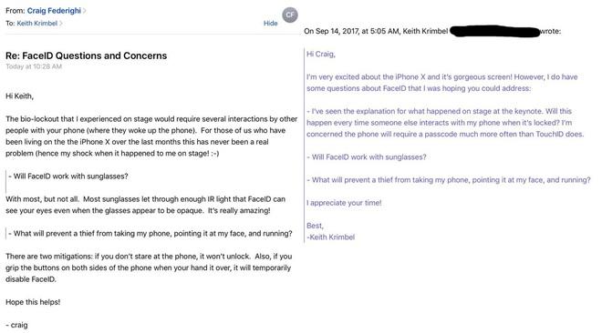 Chi tiết cụ thể bức email mà phó giám đốc Apple Craig Federighi trả lời câu hỏi của khách hàng Keith Krimbel