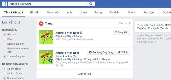 Khi tìm kiếm trên facebook, fanpage của Android Việt Nam vẫn hiện lên với trên 1,6 triệu like và dấu tích xanh