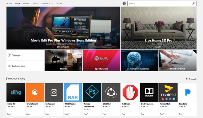 Kho ứng dụng Windows Store là nguồn ứng dụng duy nhất của Windows 10 S