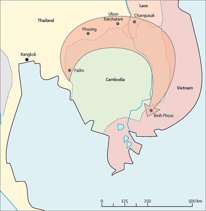 Sự lây lan của siêu ký sinh trùng sốt rét kháng thuốc từ Campuchia - Ảnh Thelancet