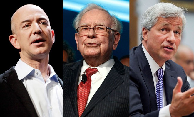 CEO Jeff Bezos, tỷ phú Warren Buffett và Chủ tịch Jamie Dimon của JPMorgan.