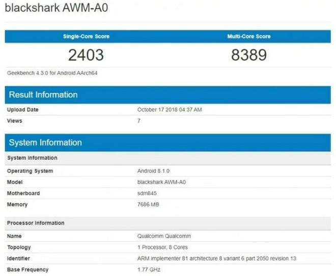 Điểm benchmark Xiaomi Black Shark 2 xác nhận máy dùng chip Snapdragon 845, RAM 8GB - Ảnh 2.