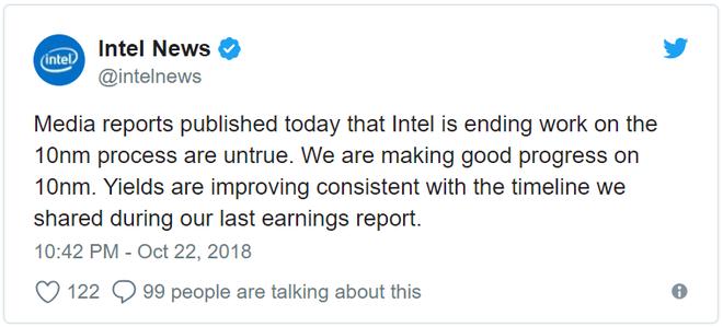 Phủ nhận báo cáo hủy bỏ, Intel cho biết chip 10nm sẽ ra mắt đúng lộ trình - Ảnh 1.
