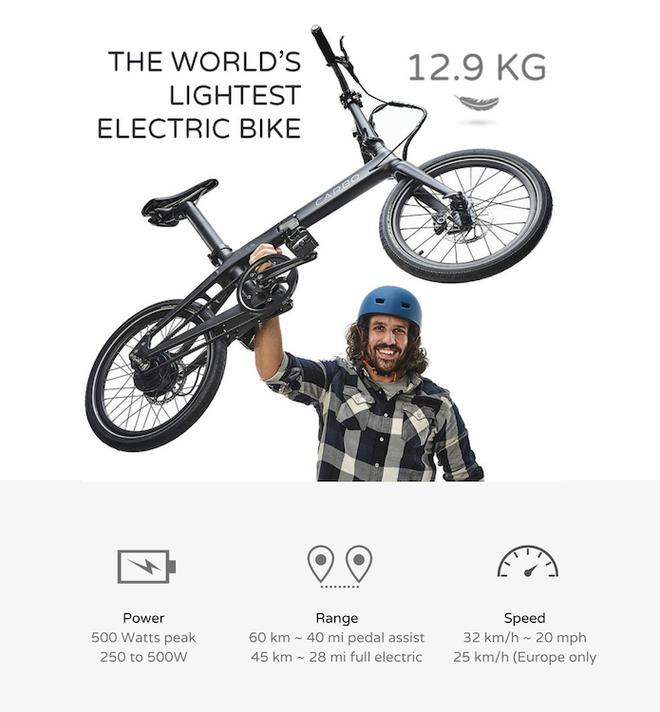 Giới thiệu CARBO: Xe đạp điện nhẹ nhất thế giới, tốc độ 32km/h, gập gọn trong 10 giây, giá 25 triệu - Ảnh 2.